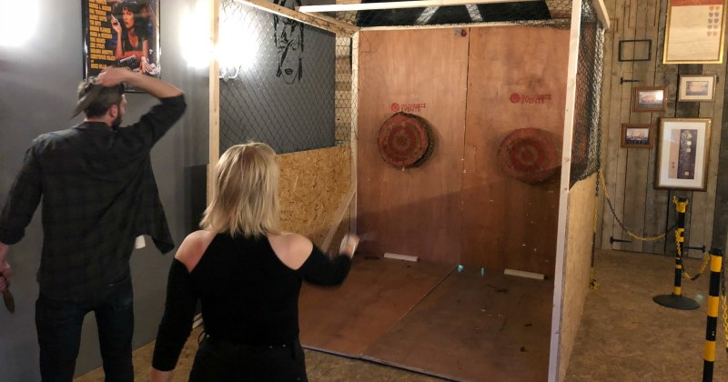 Indoor axe throwing enclosure - On Targett Events